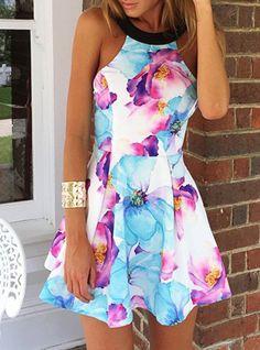 Round Collar Sleeveless Floral Print Women's Dress
