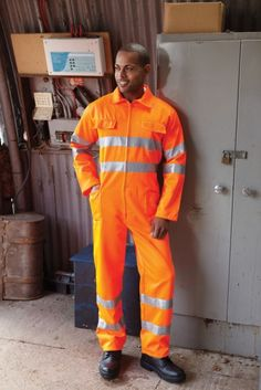 Yoko Hi-Vis Polycotton Coverall Mens Workwear Gents Work Clothing Boiler Suit Hi Vis Workwear, Polycotton Fabric, Boiler Suit, Work Suits, Work Jackets, Hot Boys, Work Wear, Casual Outfits, Yellow