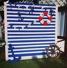Super baby shower photo booth backdrop boy party ideas Ideas shower ideas for a boy Baby Shower Photo Booth, Fotos Baby Shower, Baby Shower Photos, Nautical Photo Booth, Nautical Backdrop, Nautical Party, Nautical Mickey, Sailor Baby Showers, Anchor Baby Showers
