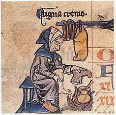 Warming feet by the fire for the month of February in the Canterbury Calendar, c. 1280