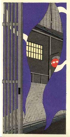 Doorway, woodblock print by 加藤晃秀 (Teruhide Kato). From set of prints at http://www.hanga.co.jp/shopbrand/002/003/X/
