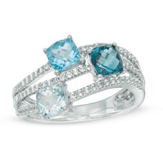 Cushion-Cut+Blue+Topaz+and+Lab-Created+White+Sapphire+Three+Stone+Wave+Ring+in+Sterling+Silver