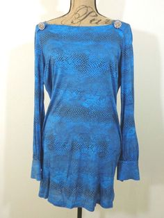 DESIGNER Young Fabulous & Broke tunic lagenlook top artsy quirky artist blue M #YoungFabulousBroke #Tunic #EveningOccasion
