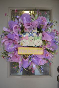 Mesh Easter Wreath - spring wreath tutorial - check it out, even if you are not a fan of ' cute' stuff, the tutorial on how to create the base is aweseom! Description from pinterest.com. I searched for this on bing.com/images