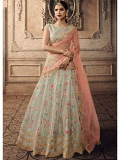 Tissue green color designer lehenga choli sequins work with net dupatta. Green wedding lehenga choli is tissue fabricated lehenga and pista green color choli with pink color net fabric dupatta. Lehenga Anarkali, Bridal Lehenga Choli, Indian Lehenga, Silk Lehenga, Lehenga Wedding, Ghagra Choli, Pakistani Bridal, Anarkali Suits, Indian Bridal