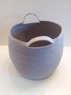 Extra Large Gray Basket with Handles by PrairieStMercantile Big Basket, Rope Basket, Basket Weaving, Yarn Bottles, Making Baskets, Wicker Man, Fabric Bowls, Rope Crafts, Basket Decoration