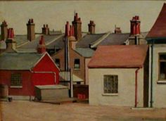 """""""Good morning John (just! Here's one that I hope you'll like which I haven't shown for a long time. This is """"Houses at Stratford"""" by Harold Steggles from Indie Kunst, Indie Art, Camden London, East London, Camden Town, Contemporary Art Daily, Contemporary Artists, Bow Art, London Painting"""