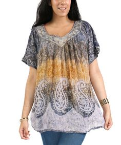 Loving this Gray Paisley Embroidered V-Neck Top - Plus on #zulily! #zulilyfinds
