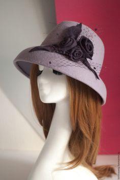 """Купить """"Жозефина"""" - лаванда, лавандовый цвет, шляпа, женская шляпа, шляпа из фетра, шляпа с полями"""