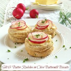 Salt Butter Radish Chive Biscuits | Teaspoonofspice.com  http://teaspooncomm.com/teaspoonofspice/2012/05/salt-butter-radishes-on-chive-buttermilk-biscuits/
