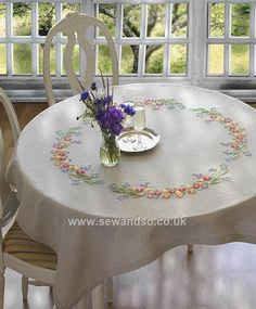 Buy Bluebell & Daisy Embroidery Tablecloth Kit Online at www.sewandso.co.uk