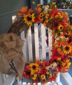 Fall wreath with Burlap bow and fall flowers