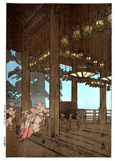 Nigatsudo temple 1926 Beautiful Wood Block Prints by Hiroshi Yoshida I. Japanese Artwork, Japanese Painting, Japanese Prints, Landscape Prints, Landscape Art, Hiroshi Yoshida, Japanese Woodcut, Japanese Watercolor, Drawn Art
