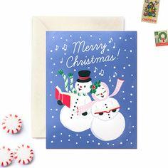 Boxed Christmas Cards, Set of 8,  Vintage-inspired Caroling Snowmen design, by WoodburyDesignCo on Etsy