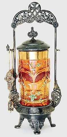 Elaborate amber pickle castor. Victorians used gorgeous tableware, while we use jars and plastic bottles!