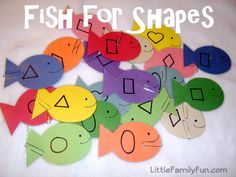 Fun fishing game to teach shapes.  Could also do with letters, numbers, dots to count (could catch 2 fish and add them for an extra challenge), etc.