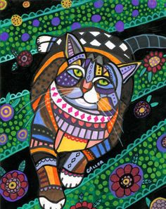 Cat Art - Tabby Cat Folk Art Cat Print Poster or Painting Modern Primitive Abstract - Wedding Gifts. $24.00, via Etsy.