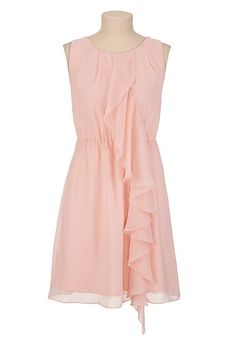 Chiffon Ruffle Front Dress; i love chiffon-this would be great with a gold belt/ribbon/something around the waist =)