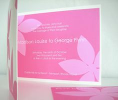 Hot Pink Floral Wedding Invitation