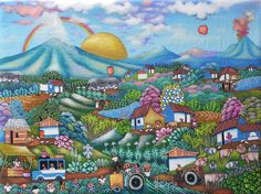 Title:Big Hard Sun in Masaya. Artist:Alvaro Gaitan Barrios. Price:U$450. Save 25% in shipping to more than 220 countries.. Technique:Oil on Canvas. Year:2012. Place:Masaya.