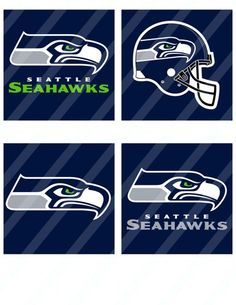 Seattle Seahawks  digital coasters 4x4 inches collage 8.5x11 - 721