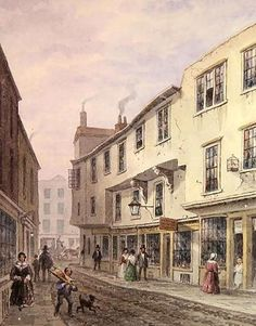 Old House at the Entrance to Leather Lane, 1857 (w/c on paper) Wall Art & Canvas Prints by Thomas Hosmer Shepherd Vintage Photographs, Vintage Photos, Steampunk City, London Drawing, Hatton Garden, Victorian London, Paper Wall Art, London History, Vintage Artwork