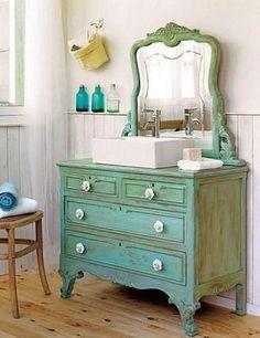 dresser turned bathroom vanity
