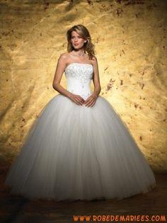 Robe de mariée princesse en satin et tulle décorée de broderies créateur robe de mariée