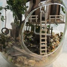 1 pc PAQITAI New Works DIY House Mini Glass Ball Assembled Building Model Forest/Tree Cabin Summer Morning Metal Shelf 9*9*15cm