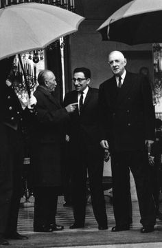 FRANCE. German Chancellor Konrad ADENAUER (on the left) visiting the French President Charles De Gaulle. 1967