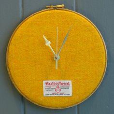 Harris Tweed Clock (Citrus Yellow) from Juniper & Jane Textiles