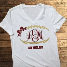 FREE SHIPPING Monogram football tee, trendy shirts, womens monogram shirts, florida state football shirts,  FSU shirts