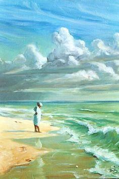 """'Woman to Woman' by TriZ    16""""x20""""   Oil on Canvas Private collection of a dear friend.   """"Oil Paintings by Montgomery Triz"""" , http://www.trizworld.com/ Beach art 