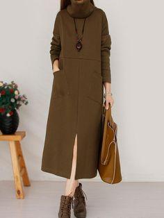 Gracila Loose Solid Color Front Split Pocket Long Sleeve Women Maxi Dresses - Banggood Mobile