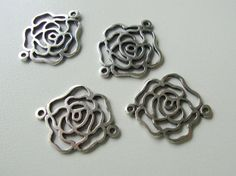2 pcs Oxidized Sterling Silver 2 links open work by TerraFinds