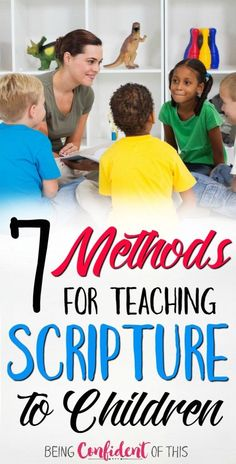 If scripture memorization is hard for adults, then it's even more difficult for kids! Try these 7 creative methods for teaching scripture to children. Great for parents, moms, homeschool, AWANA, Children's Church, etc. christian parenting, raising christians, faithful parents, purposeful parenting, teaching kids the Bible, biblical parenting, godly parents, raising godly kids