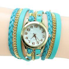Multilayered Rivet Leather Bracelet Wristwatches