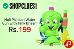 Shopclues is offering Holi Pichkari Water Gun with Tank Bheem at Rs.199. Make this colorful festival more cheerful by gifting this cute unique Water Gun Pichkari to your dear ones. This colorful pichkari with storage tank which can be hanged at the back, will surely delight any kid. Problem solved of re-filling your Pichkari again and again. Fill tank and will last for many sprays.   http://www.paisebachaoindia.com/holi-pichkari-water-gun-with-tank-bheem-at-rs-199-shopclues/