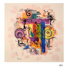 Coup de cœur du concours de peinture abstraite sur www.myrankart.com L'Arbre Noir 80x80   Huile Sur Toile by MONIQUE CHOZENON-BOURRAS
