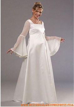 Empire Waist Poet Long sleeves Square Neckline Chiffon Maternity Wedding Dress