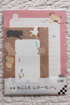 Cat Washi Letter Writing Set   Animal Washi Letter Writing Set  -  6 letter papers - 3 envelopes - 4468C