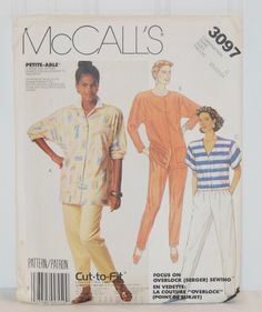McCall's Pattern 3097 (c.1987) Misses & Petite Sizes 10-14, Misses' Shirts and Pants, Casual Clothes, Comfortable, Overlock Serger Sewing by TooHipChicks on Etsy