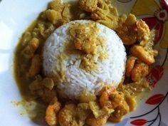 crevette, lait de coco, curry, oignon, échalote, ail, noix de coco