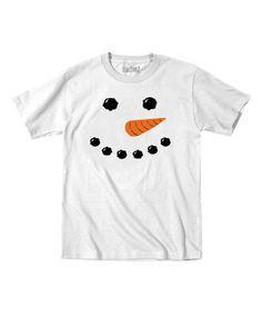 Look at this #zulilyfind! White Snowman Face Tee - Toddler & Kids #zulilyfinds