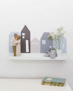 """Wandregal IKEA mit Wandstickern """"Lille Hus"""" verschönern (Farbe Blau/Grau)"""