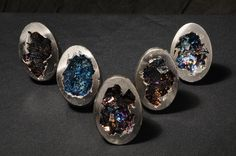 Bismuth Eggs They kind of look like empty dragon eggs. Diamond Earrings, Stud Earrings, Dragon Egg, Mineralogy, Rocks And Minerals, Little Things, Pretty Little, Empty, Environment