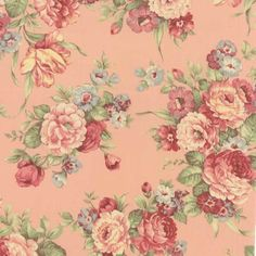 Vintage roses in shades of beige, pink, and chocolate. Classic shabby chic floral fabrics.