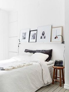 floating photo ledge in the bedroom