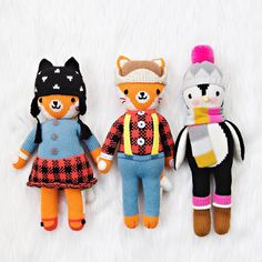 new arrivals! little Sadie + Wyatt the foxes and little Aspen the penguin have joined the cuddle+kind family of hand-knit dolls.