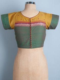 Green-Mustard Back Button Detail Cotton Blouse by Svasa